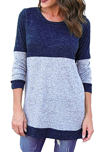 Kancystore Women's Long Sleeve Round Neck Colorblock Tunic Tops Blue (Colorblock Tunic Top)