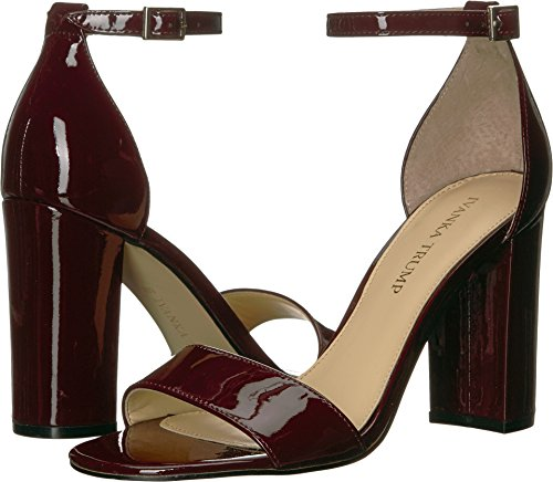 (Ivanka Trump Women's Klover Heeled Sandal, Dark Red Patent, 7.5 Medium US)