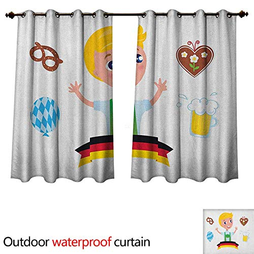 Anshesix German Outdoor Curtain for Patio Bavarian Boy with Blonde Hair with Oktoberfest Symbols Beer Balloon and Pretzel W96 x