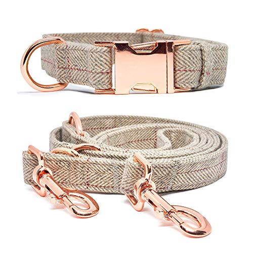 KUYOUGOU Heavy Duty Dog Collar and Leash (6.6'), Stylish Design with Rose Gold Set, 3 Adjustable Lengths, for Small to Large Dogs (L (15.7''-24''),Beige)