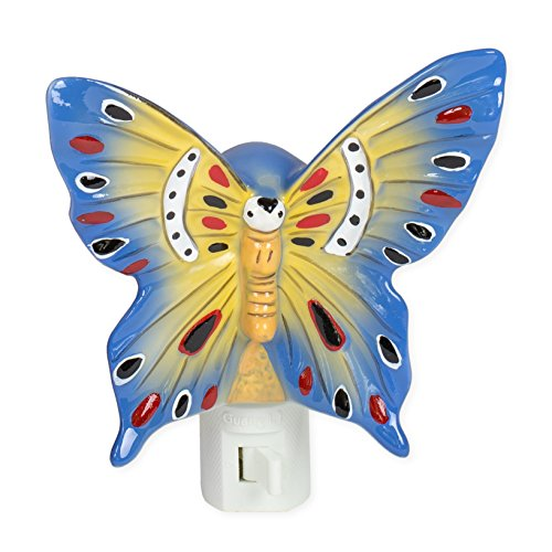 Butterfly Blue Yellow 5 Inch Porcelain Swivel Plug In Decorative Night Light