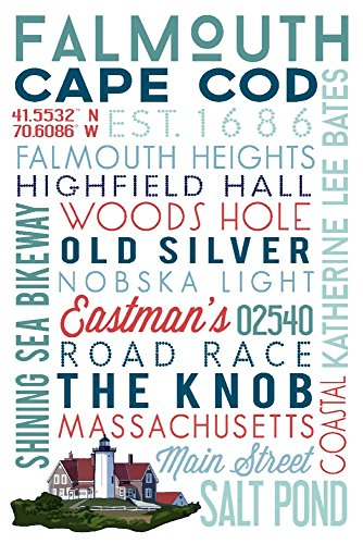 Falmouth, Cape Cod, Massachusetts - Typography (9x12 Art Print, Wall Decor Travel ()