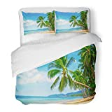 SanChic Duvet Cover Set Hawaii Beautiful Beach View of Nice Tropical with Palms Around Holiday and Vacation Exotic Decorative Bedding Set with 2 Pillow Shams Full/Queen Size