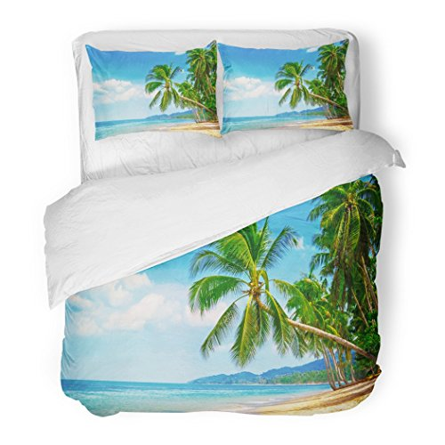 SanChic Duvet Cover Set Hawaii Beautiful Beach View of Nice Tropical with Palms Around Holiday and Vacation Exotic Decorative Bedding Set with 2 Pillow Shams Full/Queen Size by SanChic