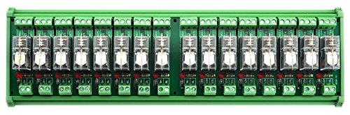 ELECTRONICS-SALON DIN Rail Mount 16 SPDT 16A Power Relay Interface Module, G2R-1-E 24V Relay