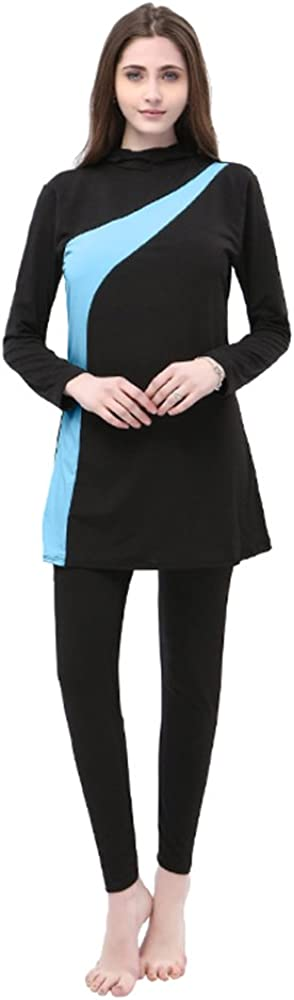 BOZEVON Donne Elegante Musulmano 2 Pezzi Costumi da Bagno Islamiche Hijab Burkini Modesto Swimsuit Beachwear