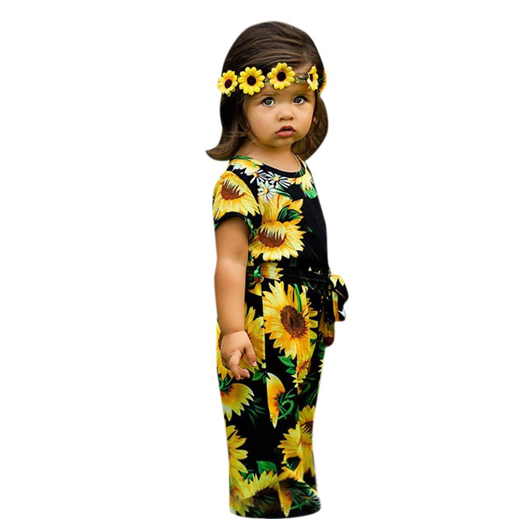 Toddler Newborn Baby Girls Sleeveless Shoulderless Bodysuits Floral Jumpsuit Harem Cropped Pants Attractive Designs; Mother & Kids Girls' Baby Clothing