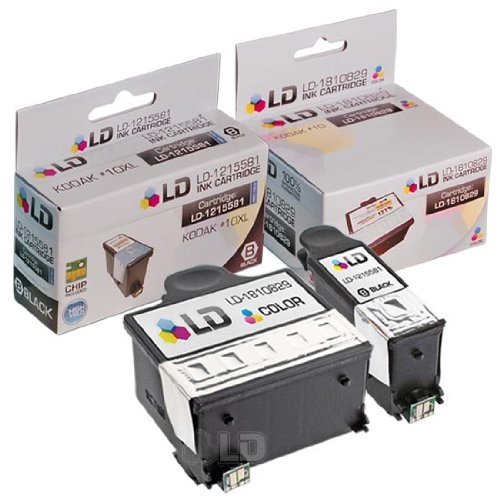 LD © Kodak Compatible #10XL / 10 Set of 2 Ink Cartridges: 1-8237216 High Yield Black & 1-8946501 Color Cartridge