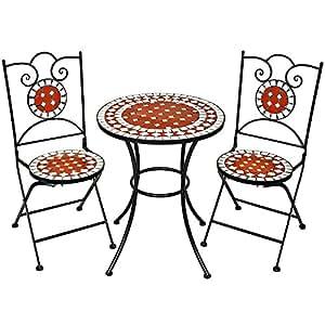 Tectake conjunto de muebles de jard n mosaico mesa con for Amazon muebles terraza