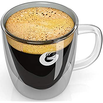 Coffee Gator Insulated Glass Mug - Hotter-For-Longer, Double-Walled Thermal Cup - Made With Scratch-Resistant Hand-Blown BPA-Free Glass - 1 x 12 Ounce Mug