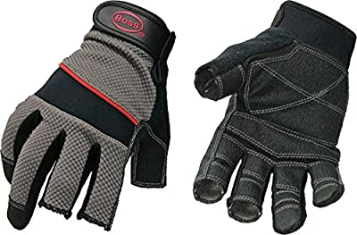 Boss Gloves 5201M The Carpenter Glove, Three Open Finger Tips, Medium