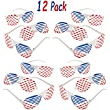 12 Pack Patriotic Shutter Glasses Plastic Bulk, 4th of July Party Favors Supplies, Great Photo Props, Goodie Bag Filler & Stocker, By 4E's Novelty