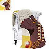 How Many Feet Is a California King Bed Warm Microfiber All Season Blanket for Bed or Couch Beautiful Sexy African Woman Princess with Crown Against Sun Kissing Throw Blanket 80