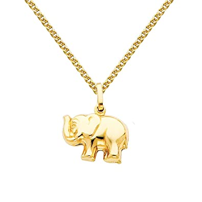 Amazon 14k yellow gold elephant pendant with 15mm flat open amazon 14k yellow gold elephant pendant with 15mm flat open wheat chain necklace 16 jewelry aloadofball Images
