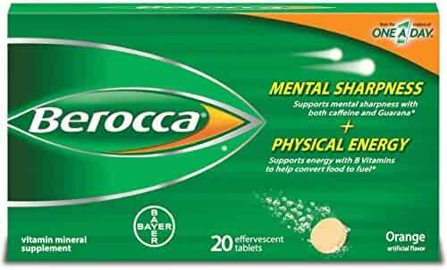 Berocca Energy Vitamin Supplement for Mental Sharpness and Physical Energy Support, Orange Flavor, Effervescent Tablets, 20 Count