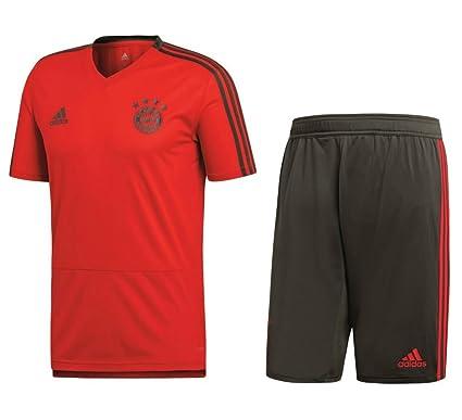 Adidas FC Bayern Múnich Training Set de fútbol Camiseta Pantalón 2018 2019  Hombre Niños Rojo Gris 6b04858ebc5c5