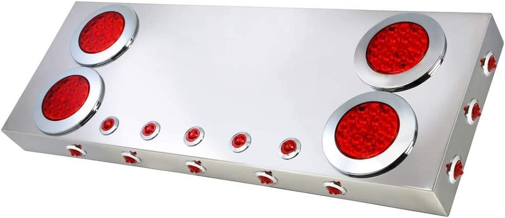 GG Grand General 91312 Stainless Steel Rear Panel with 4 and 1 inches Red LED Lights New V2