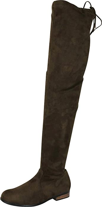 a6bdc8ae7439a Cambridge Select Women's Closed Round Toe Drawstring Chunky Stacked Low  Heel Thigh High Over The Knee