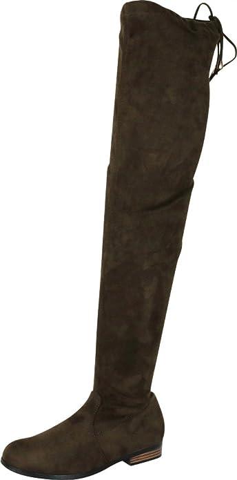 Cambridge Select Women/'s High Heel Drawstring Tie Thigh-High Boot