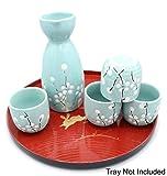 Japanese Ceramic Sake Set ~ 5 Piece Sake Set (Included 1 TOKKURI bottle and 4 OCHOKO cups) with Green Flower Patterns