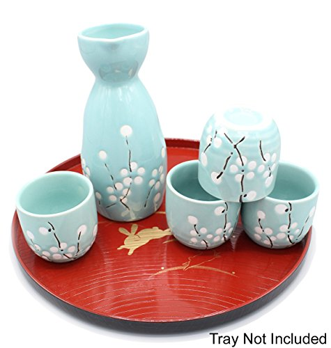 Japanese Ceramic Sake Cup - Japanese Ceramic Sake Set ~ 5 Piece Sake Set (Included 1 TOKKURI bottle and 4 OCHOKO cups) with Green Flower Patterns