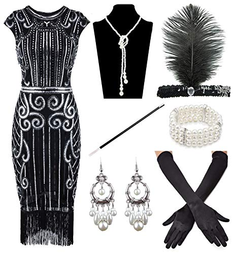 (Women's 1920s Sequins Flapper Gatsby Cocktail Dress with 20s Headband Accessories Set (L,)