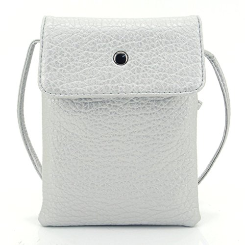 u-times-womens-small-embossed-pu-leather-smart-phone-holder-pouch-single-shoulder-travel-pursesilver
