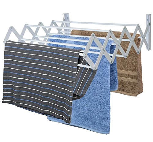 Sunbeam Wall Mount Folding Accordion Clothes Drying Rack, Wh