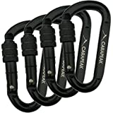 CARAPEAK 30kN Heavy Duty Screwgate Locking Snag-Free 2 3 4 6 Pack Set D Shape Carabiner, Strong Steel Clip for Gym, Hammock, Hunting Black
