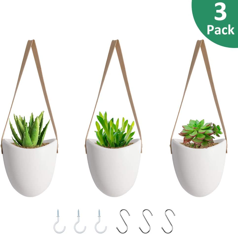 GROWNEER 3 Packs 4.6 Inches Ceramic Hanging Planter with 6 Hooks, White Porcelain Wall Decor Flower Pots for Succulents, Air Plant, Gift, Garden, Herbs, Plants, Indoor Outdoor Use