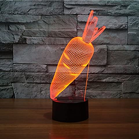 3D Illusion Lamp Gawell Night Light Carrot 7 Changing Colors Touch USB Table Nice Gift Toy (Meditation Claw Bell)