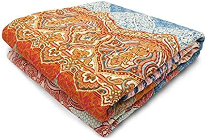Exclusivo Mezcla Luxury Reversible 100/% Cotton Chic Boho Stripe Quilted Throw Blanket 60 x 50 Machine Washable Dryable