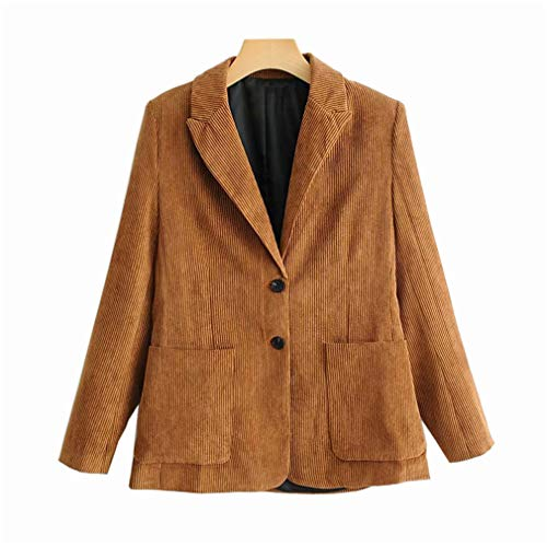 MAZORT Women Classic Retro Single Breasted Corduroy Blazer Jacket Light Brown L