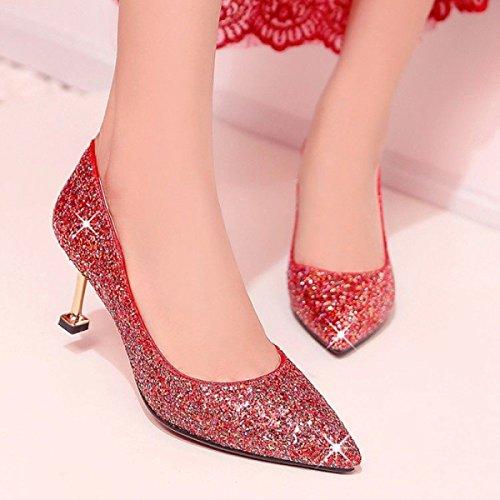 Mariage Haute Fine Chat De Pointu Red Mode Sexy Chaussures Avec Paillettes Chaussures Printemps Femmes Sauvage Talons Talons Dames 9cm Chaussures Pq4f6