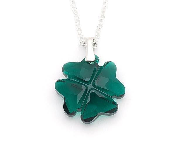 0f403aad77b31 Amazon.com: Green Swarovski crystal four leaf clover sterling silver ...