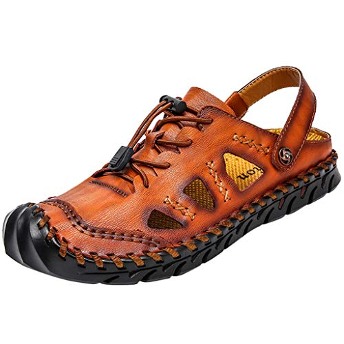 ANJUNIE Men's Breathable Fashion Casual Men's Shoes Trekking Sandals Water Shoes(Brown,42)