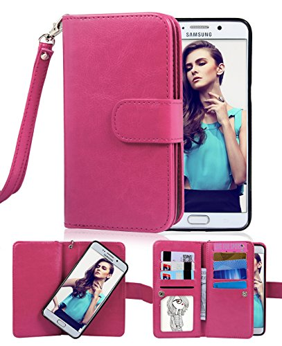 Crosspace Galaxy S6 Edge Plus Case, Flip Wallet Case Premium PU Leather 2-in-1 Protective Magnetic Shell with Credit Card Holder/Slots and Wrist Lanyard for Samsung Galaxy S6 Edge + (Rose)