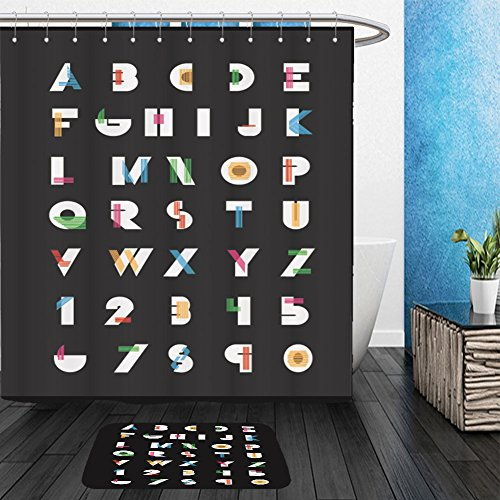 Vanfan Bathroom 2Suits 1 Shower Curtains & 1 Floor Mats color alphabetic fonts and numbers vector eps illustrator 368571023 From Bath (Happy Halloween Disney Font)