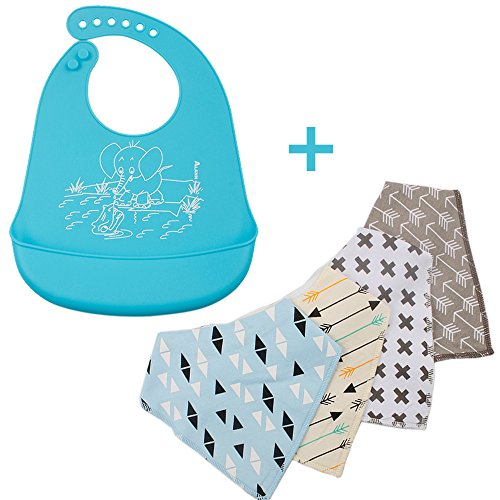 [Butyface-Baby Silicone Cotton bandana design 5-Pack of Drool bibs (Colorful 1)] (Doctor Love Costume)