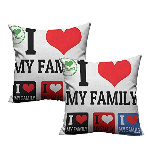 RuppertTextile Polyester Pillowcase Family Signs and Labels I Love My Family Emblems Stamp Colorful Retro Classic Composition Mildew Proof W20 xL20 2 pcs ()