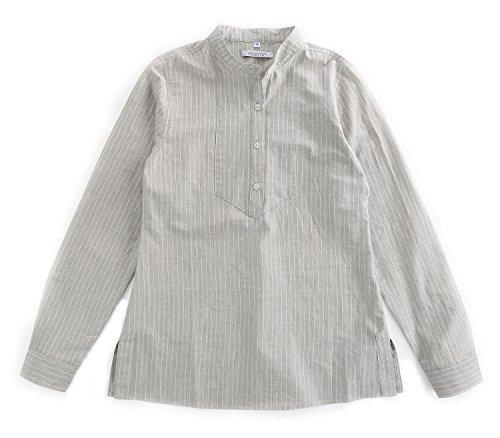 Classic Linen Blouse - Vetemin Women's 100% Cotton Classic Fit Long Sleeve Button Down Shirt Blouse Top Ash Stripe XL