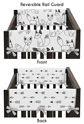 (Sweet Jojo Designs 2-Piece Grey, Black and White Fox and Arrow Teething Protector Cover Wrap Baby Crib Side Rail)