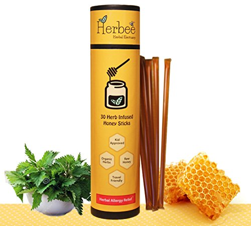 Natural Allergy Relief Children - Herbee - All Natural, Herbal Allergy Relief - 30 Herb Infused Honey Sticks | Great for Kids & Adults | Stinging Nettle