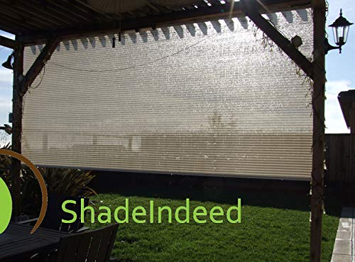EasyShade 5% Openness Indoor/Outdoor Roller Shades 54″ W x 50-72″ H (54W x 52H, Beige Stripe)