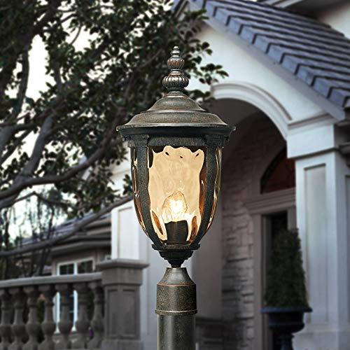 Bellagio Modern Outdoor Post Light with Pole Veranda Bronze 103 Champagne Glass for Exterior Garden Yard - John Timberland