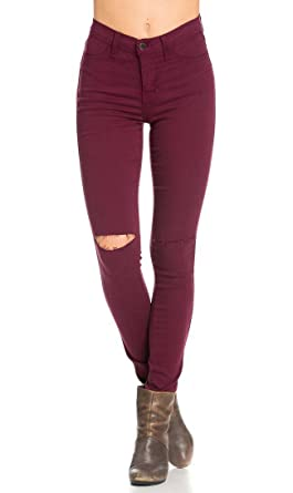 eb7dff7ad High Waisted Knee Slit Skinny Jeans in Burgundy at Amazon Women s ...