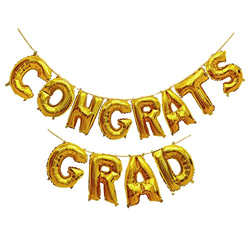 Treasures Gifted Golden Congratulations Balloons Letters in 16 Inch Congrats Grad Gold Foil Ideal Decorations for Congratulating Graduate Party Celebrations