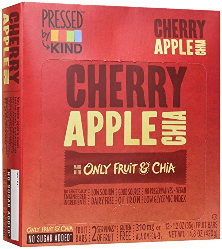 KIND Pressed by Bars - Cherry Apple Chia, 1.2 Oz, 12 Count - Cherry Fruit Bar