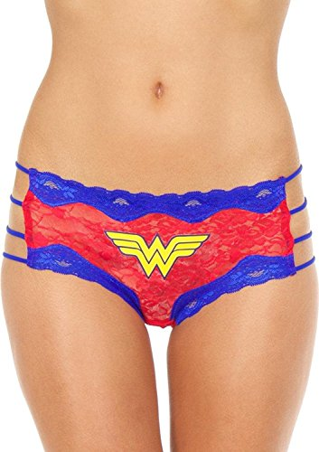 Superhero Licensed Goods Wonder Woman Lace String Hipster Panty Size 1X/2X