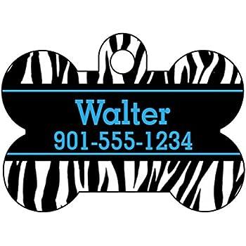 Animal Print Dog Tag Pet Id Personalized W Name Number Zebra Bone Blue
